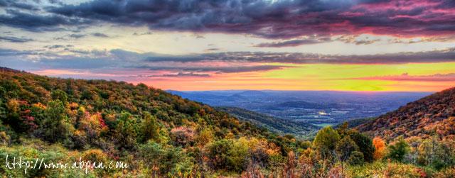Shenandoah, mountains, sunrise, VA - Angela B. Pan Photography