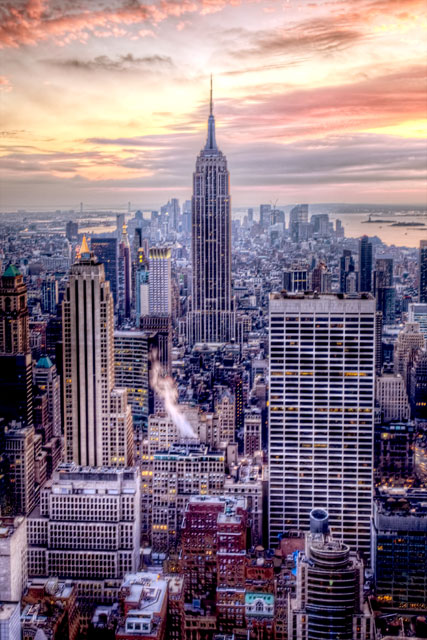 new york, nyc, empire state building, top of the rock, rockefeller center, hdr, photography, landscape, sunset, angela b. pan, abpan