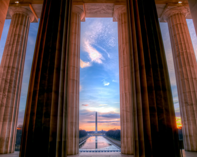 washington monument, lincoln memorial, hdr, landscape, washington dc photography