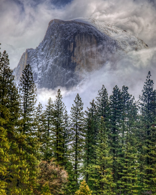 half dome, yosemite, fog, trees, california, hdr, angela b. pan, abpan
