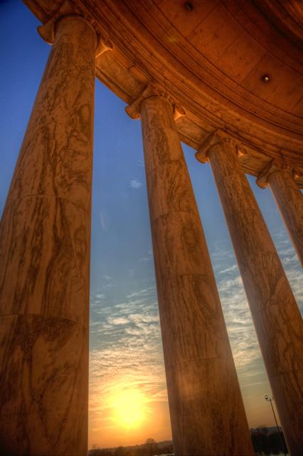jefferson memorial, thomas jefferson, sunset, columns, angela b. pan, abpan