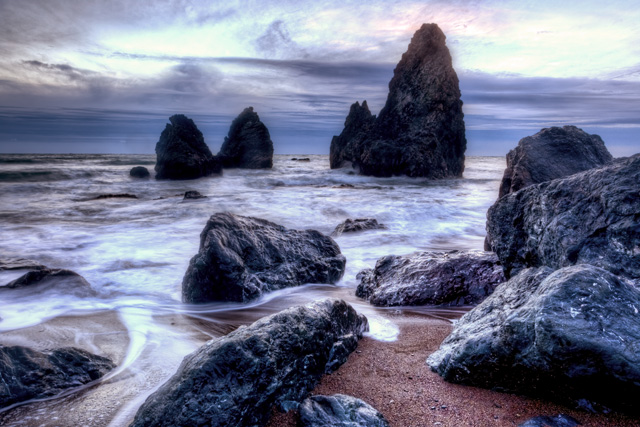 rodeo beach, sausalito, california, hdr, sunset