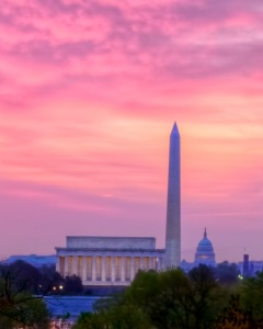 lincoln memorial, washington monument, us capitol, washington dc, sunrise, pink, hdr, abpan, angela b. pan, big 3, landscape, nations capitol, travel