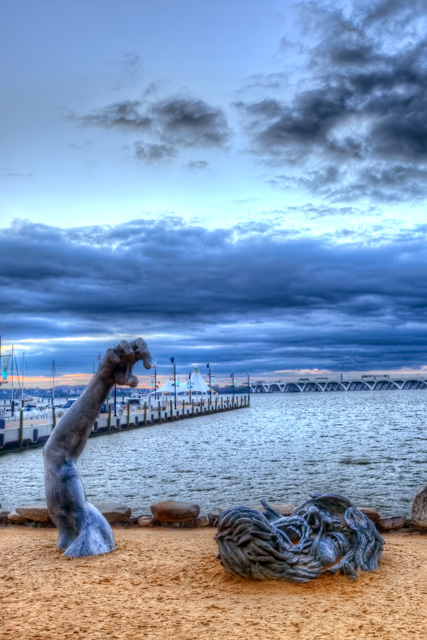 awakening, national harbor, maryland, sunset, landscape, sculpture, angela b. pan, abpan, hdr