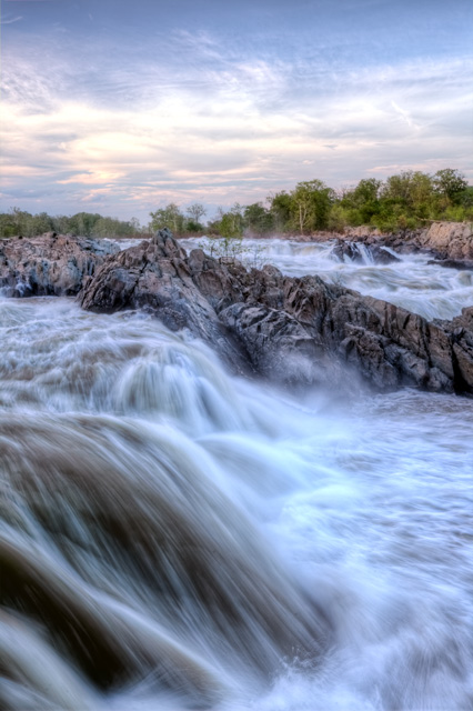 great falls, national park, sunset, waterfall, hdr, landscape, travel photography, abpan, angela b. pan
