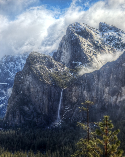 yosemite, yosemite national park, three brothers, waterfall, california, hdr, landscape, abpan, angela b. pan, cloudy, travel, photography,