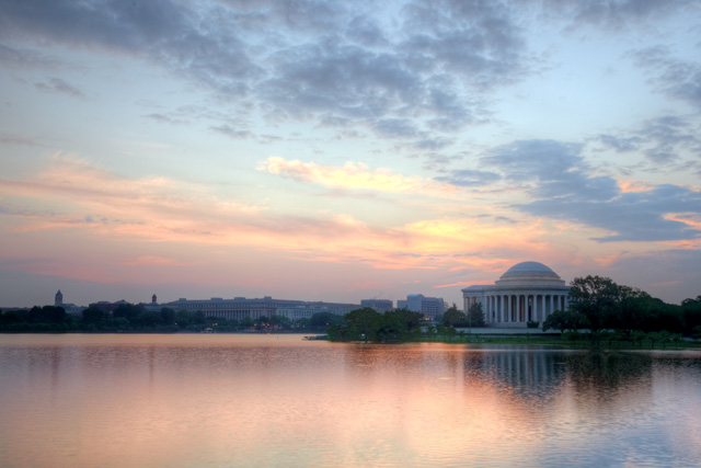 jefferson, thomas jefferson, memorial, washington dc, sunrise, reflection, tidal basin, abpan, angela b. pan, landscape, hdr, photography