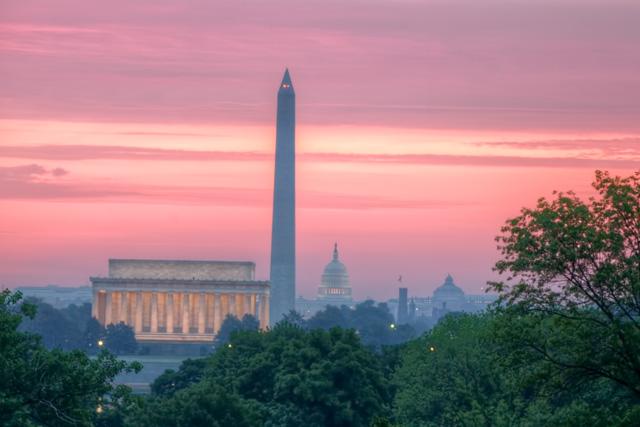 lincoln memorial, washington monument, us capitol building, sunrise, landscape, hdr, washington dc, angela b. pan, abpan