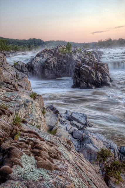 mather gorge, great falls, virginia, angela b. pan, abpan, sunrise, landscape, rocks, waterfalls, hdr