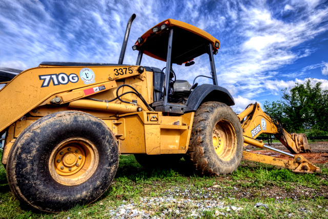 yellow, bulldozer, abpan, angela b. pan, hdr, construction,