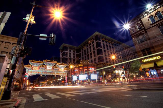 chinatown, night photography, lights, washington dc, angela b pan, abpan, landscape