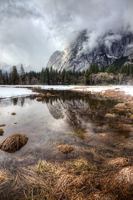 cooks valley, yosemite national park, reflection, rain storm, angela b. pan, abpan, hdr