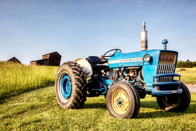 blue tractor, farm equipment, ford, hdr, landscape, west virginia, angela b. pan, abpan