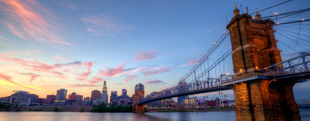 ohio, cincinnati, kentucky, sunset, landscape, bridge, Roebling Suspension Bridge, hdr, angela b. pan, abpan, hdr
