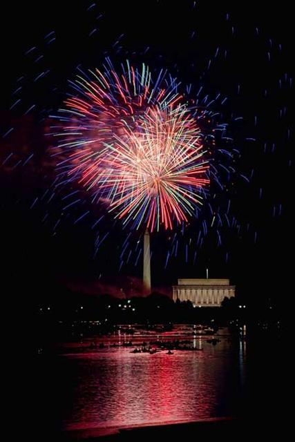 washington dc, dc, monument, jefferson, fireworks, potomac, night photography, hdr, reflection