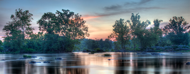 great falls, trees, sunrise, angela b. pan, abpan, hdr, sunrise, potomac river, water, landscape, travel, office art, interior decor