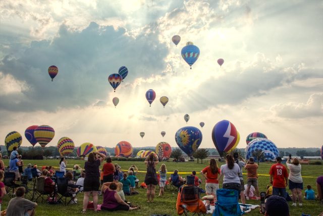 hot air balloon, festival, sunset, landscape, hdr, photography, angela b. pan, abpan, colors, clouds,balloon festival, ohio, middletown, cincinnati, dayton