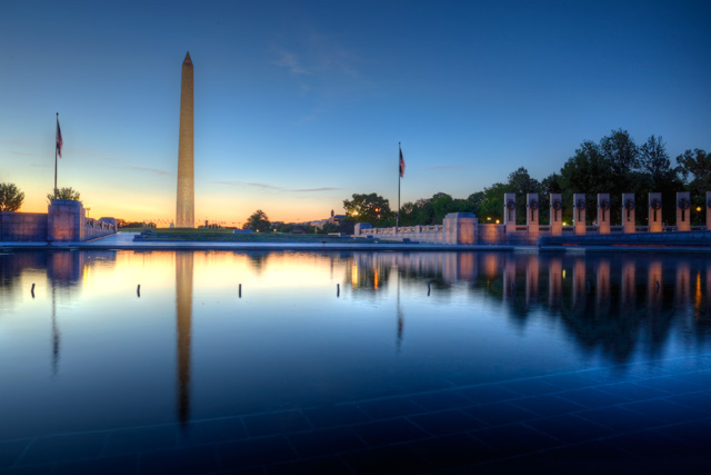 world war ii, wwii memorial, washington dc, sunrise, blue, landscape, abpan, travel, angela b. pan, hdr