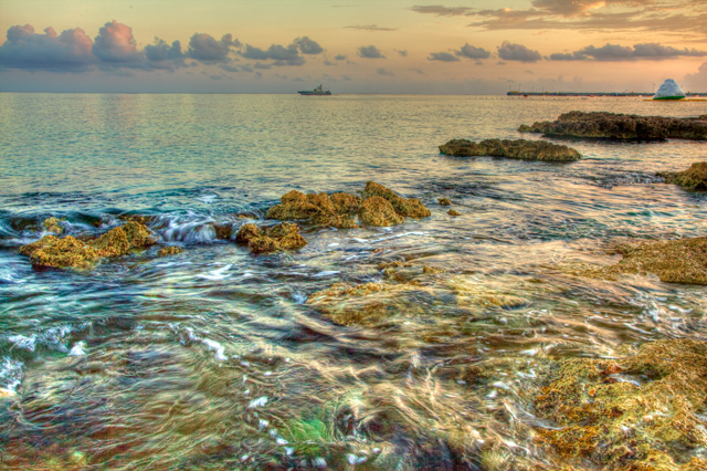 cozumel, sunrise, hdr, travel, rock, angela b. pan, abpan, landscape, mexico, color