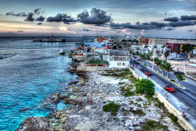 cozumel, mexico, shore, sunset, angela b. pan, landscape, travel, nature, cars,