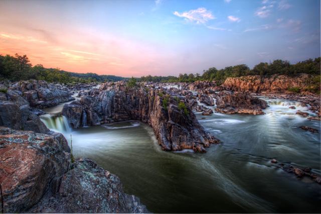 great falls, national park, washington dc, metro area, va, sunset, landscape, angela b. pan, hdr, abpan, nature, waterfalls, mathers gorge, travel, virginia,