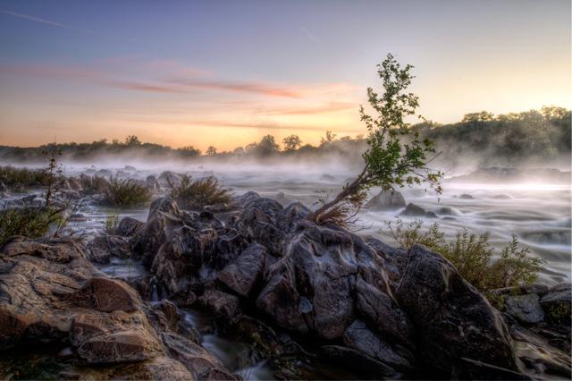 Great falls, national park, fog, sunrise, landscape, nature, virginia, angela b. pan, abpan, travel, hdr, water, waterfall,
