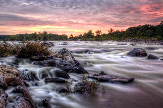 great falls, sunrise, landscape, national park, travel, pink, waterfall, mather gorge, virginia, va, angela b. pan, abpan,