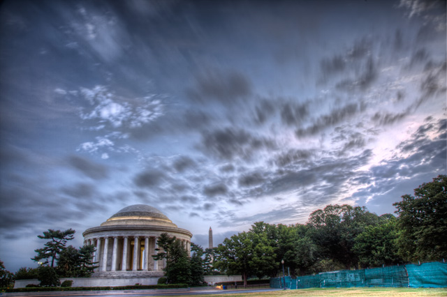 jefferson, sunrise, clouds, washington dc, hdr, memorial, travel, landscape, angela b. pan, abpan, monument,