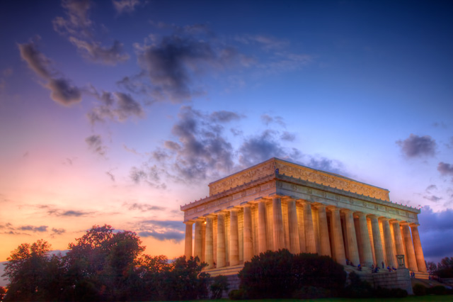 lincoln memorial, sunset, exterior, architecture, landscape, hdr, travel, washington dc, the mall, abraham lincoln, angela b. pan, abpan