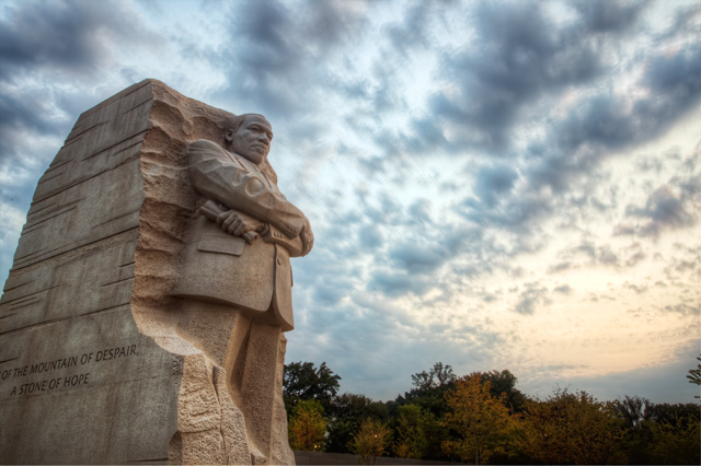 stone of hope, martin luther king jr, memorial, washington dc, sunrise, landscape, angela b. pan, abpan, hdr