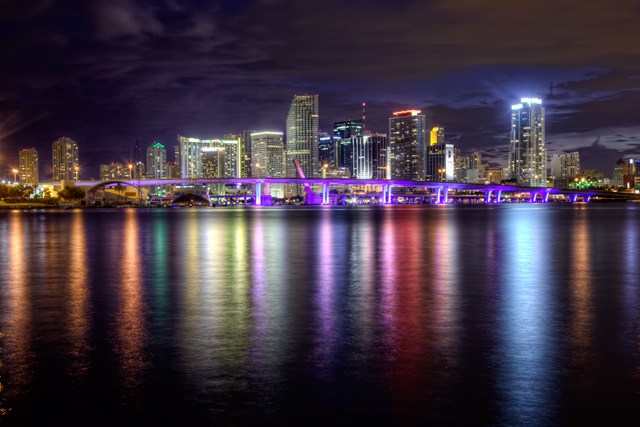 MacArthur Causeway, miami, downtown, night photography, south beach, hdr, lights, bridge, florida, travel, landscape, angela b. pan, abpan