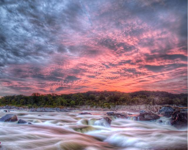 pink, great falls, sunrise, angela b. pan, hdr, travel, landscape,