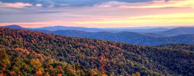 skyline drive, shenanndoah mountains, sunrise, travel, hdr, landscape, fall, autumn, trees, virginia, angela b. pan, abpan