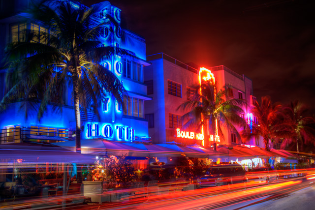 south beach, florida, travel, landscape, hdr, art deco, beach, hotel, neon lights, angela b. pan, abpan