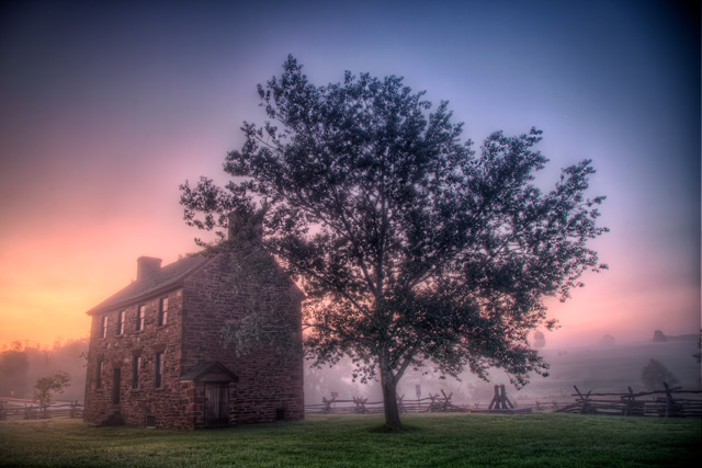 Stone house, manassas battlefield, virginia, landscape, travel, sunrise, fog, hdr, angela b. pan, abpan
