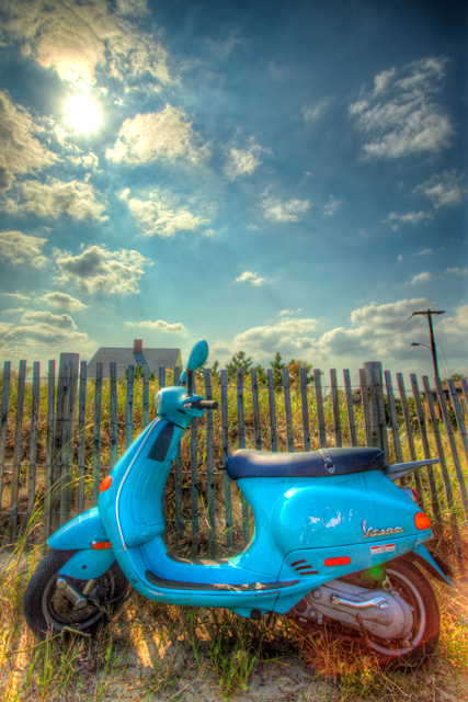 vespa, rehoboth beach, delaware, hdr, travel, beach, blue, travel, dewey beach, angela b. pan, abpan