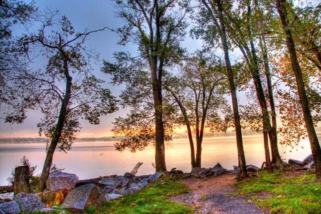 alexandria, virginia, sunrise, founders park, trees, landscape, hdr, travel, nature, angela b. pan, abpan