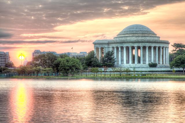 Jefferson memorial, sunrise, washington dc, landscape, travel, angela b. pan, abpan,