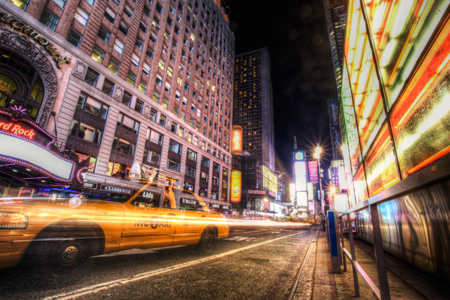 new york city, night, taxi, cab, hdr, landscape, photography, hdr, angela b. pan, abpan, travel