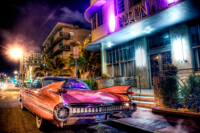 classic car, miami, pink, cadillac, car, night photography, florida, lights, neon, ft. lauderdale, angela b. pan, abpan, hdr, travel