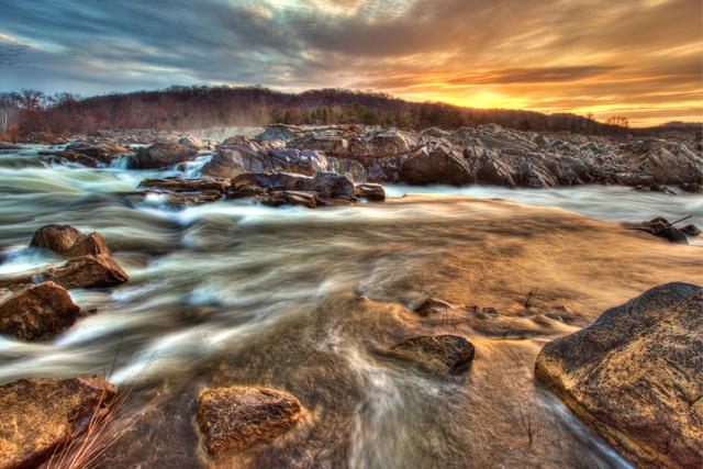great falls, sunrise, landscape, hdr, angela b. pan, abpan, travel, virginia,