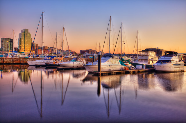 baltimore, harbor, boats, sunrise, landscape, hdr, angela b. pan, abpan, maryland