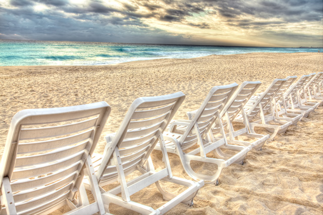 cancun, mexico, travel, hdr, landscape, chairs, beach, sunrise, angela b. pan, abpan