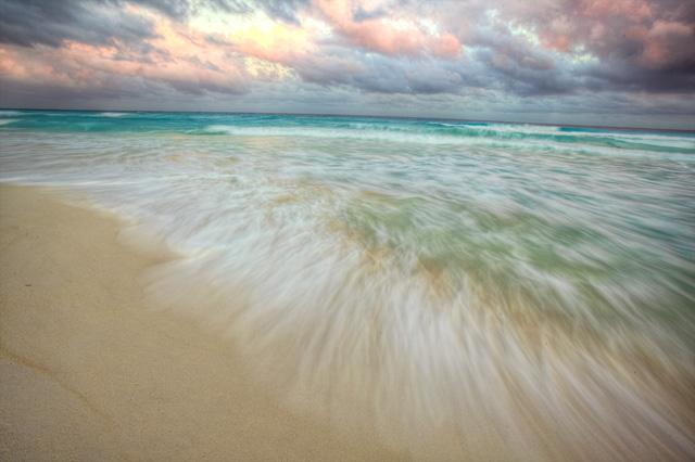 cancun, beach, water, waves, hdr, travel, mexico, motion, landscape, angela b. pan, abpan