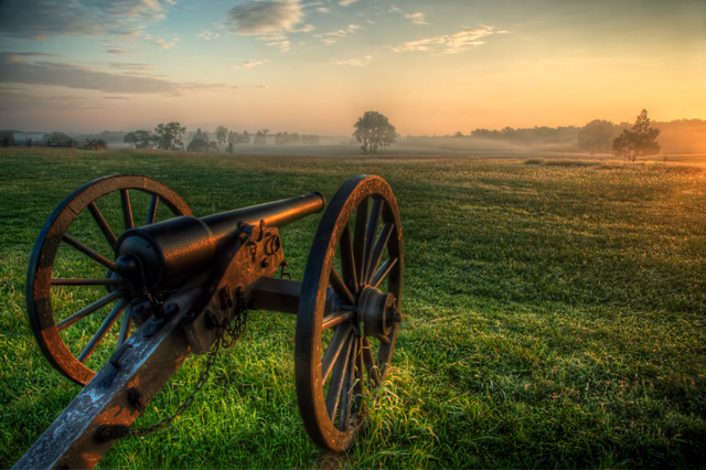 canon, battlefield, manassas, virginia, va, sunrise, fog, travel, angela b. pan, abpan, landscape, hdr