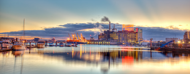domino sugar, sunrise, landscape, baltimore, hdr, angela b. pan, abpan, harbor