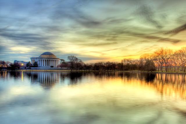 Jefferson memorial, sunrise, landscape, hdr, tidal basin, travel angela b. pan, abpan
