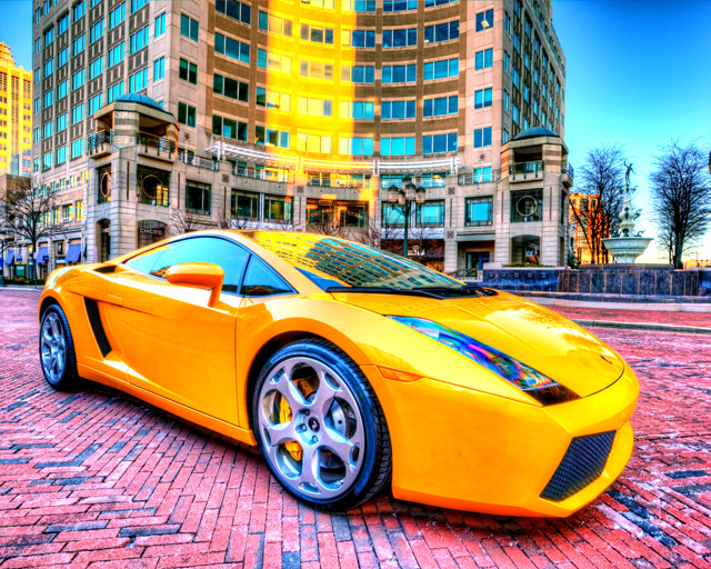 lamborghini, gallardo, yellow, angela b. pan, abpan, hdr, car,