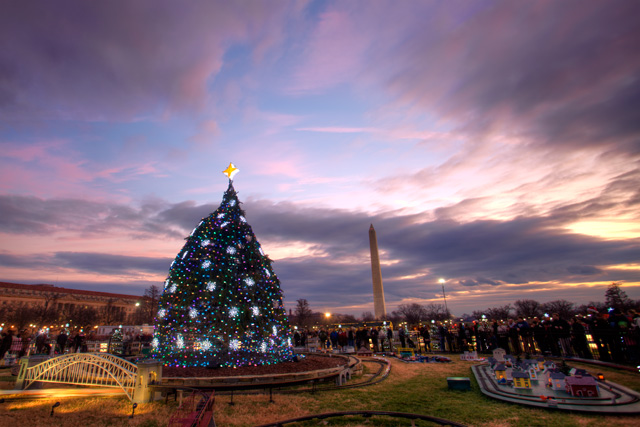 national christmas tree, washington dc, hdr, sunset, landscape, washington monument, train, angela b. pan, abpan