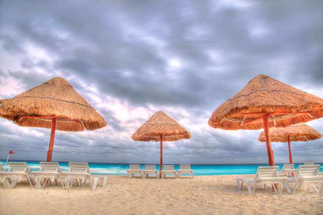 sunset, clouds, cancun, mexico, travel, landscape, hdr, beach, angela b. pan